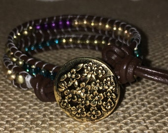 Two Strand Leather Wrap Bracelet with Purple, Blue and Gold Beads Ending With a Gold Button and Two Closures to Adjust Length