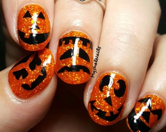 Jack O' Lantern Faces Nail Decal