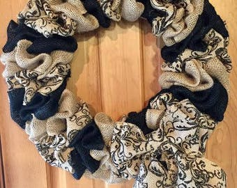 Black and Natural Burlap Wreath