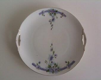 Beautiful, very old plate, fruit bowl, art nouveau, violet flower decor, KPM porcelain, Germany, vintage, shabby chic