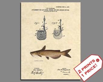 Fishing Wall Art - Catfish Fishing Patent - Channel Catfish Fishing Poster - Patent Prints - Fishing Lure - Fishing Art - Vintage - 381