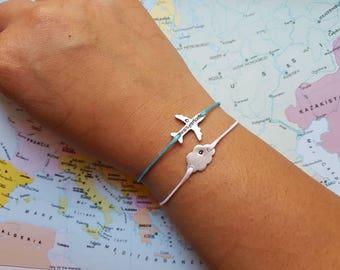 Pair of bracelets plane + aluminium cloud unalterable