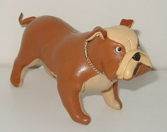 Leather English Bulldog vintage rare collectible