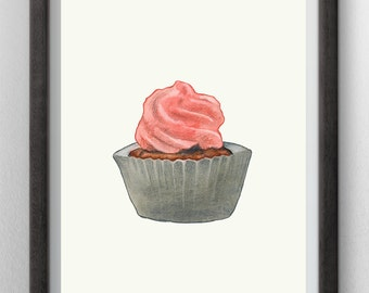 Cupcake Watercolor painting - instant digital download – wall art red - handmade kitchen decor - blog illustration