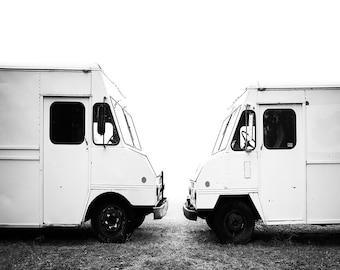 Minimalist Truck Photo Print // Americana Photography // Contemporary Wall Art // Black and White Photo // Mid Century // Abandoned Truck