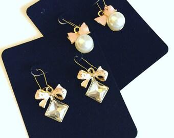 Kawaii Pink Bow Drop Charm Earring Set
