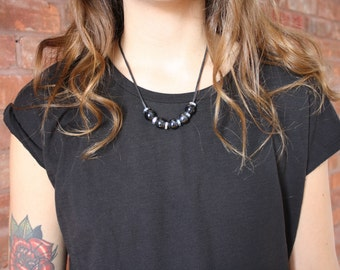 Recycled materials - black necklace