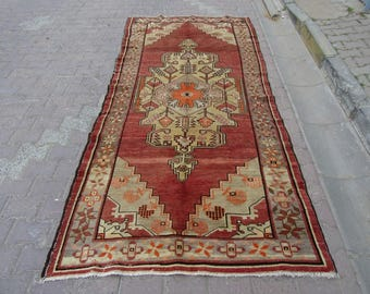 4.6x10 Ft Handknotted vintage decorative Turkish Anatolian rug