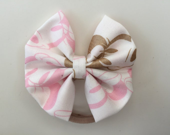 Minnie Mouse pink and gold fabric hair bow or bow tie