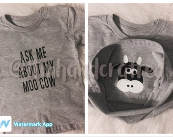 Ask Me About My Moo Cow // funny kids tee // cow kids tee // farm kids shirt // moo cow funny kids tee