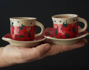 2 espresso coffe mugs, red coffe pots, porcelain espresso mugs, pottery mug, ceramic mugs, handmade porcelain mugs
