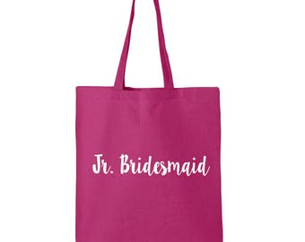 Jr. Bridesmaid Cotton Canvas Tote Bag in 11 Colors