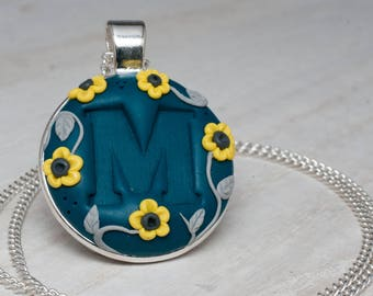 Flower monogram pendant, signature necklace, jewelry gift, personalized jewelry, monogram, flower jewelry, initials necklace, gift for her