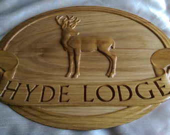 Personalised Wooden House Sign Carved in Oak