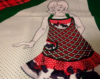 Fabric Panel to MMake A Tartan Apron with Scotty Dogs
