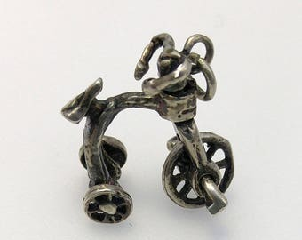 Vintage Old Tricycle Movable 3D Charm in Sterling Silver, Trike 925