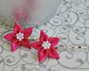 Set Of 2 Hot Pink Satin Bridal Flower Bobby Pins For Hair Wedding Embellishments Accessories Barrettes 32mm.