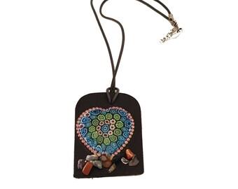 leather millefiori glass necklace