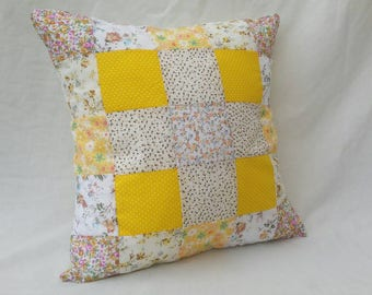 "Yellow 16"" Patchwork Cushion"