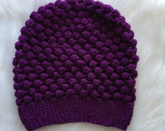 Ready to ship crochet puff beanie