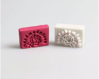 "Mini ""Handmade Soap"" Rose Resin Soap Stamp"