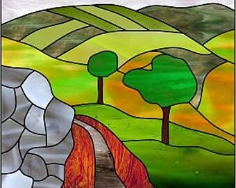 Road in the hills. Stainedglass pattern.
