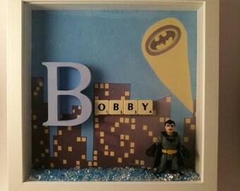 Boys Super hero scrabble name keepsake/gift frame