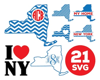New York Map SVG Files, New York Monogram SVG Files, Chevron New York Split Monogram, Love New York State Map SVG Cutting, Instant Download