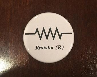 "March for Science Resistor (R) Scientific Symbol 1.75"" pinback button"