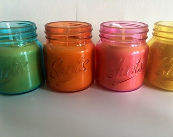 Beeswax coloured shot candles