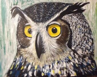 OWL painting large-format acrylic