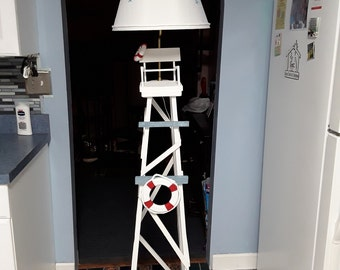 Nautical lifeguard floor lamp with shade. 69 inches tall..