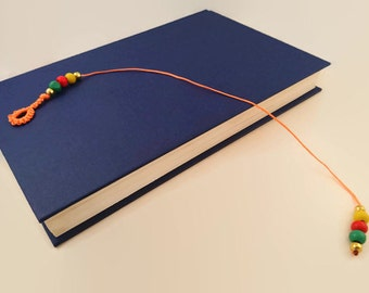 Colourful beaded bookmark,  string page marker, orange thong style bookmark with beads, sister present,  book decal, gift for schoolpal
