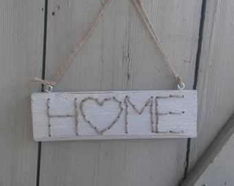 Wooden sign - home - shabby - grey