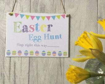 Easte egg hunt hand made wooden olaque