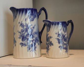 Set of two Vintage Blue and White Floral Pitchers