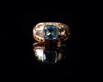 Topaz ring, Sterling silver ring, silver ring, topaz ring, cognac diamond,