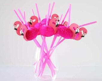 25 Pink Flamingo Straws, Pink Straws, Party Straws, Flamingo Straws, Birthday Straws