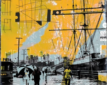 New York Pier 16, photography, overpaint, graphic elements