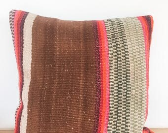 Brown and orange Andes pillow,peruvian handmade pillow decorative, Colors ands stripes, embroidered, ethnic and fair trade. From Cuzco Peru.