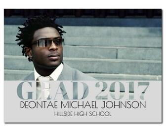 Photo Graduation Announcement - Grey | Class of 2017 Graduation Announcement | 2017 Photo Graduation Announcement | HS Graduation Party