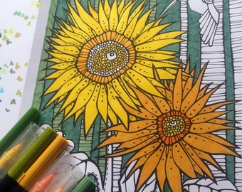 Printable Sunny Flowers Colouring Page