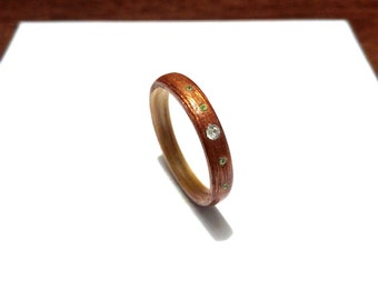 Woman's Wooden Ring. Bentwood Ring. Rosewood and Maple woods With Swarovski crystals