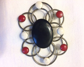 Retro Black, White and Red Brooch