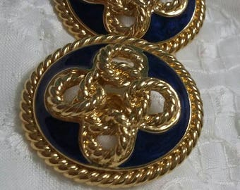 AnaTrifari blue and gold sailors  knot clip on earrings