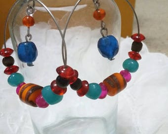 Multi colored stone gem hoops