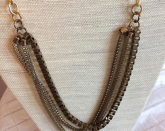 Goldtone /Brasstone Chain Bib Necklace