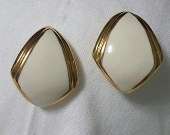 Monet enamel cream and gold post earrings