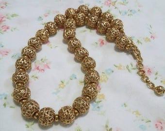 Monet vintage filigree gold beaded choker