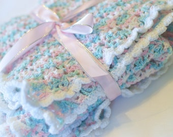 FREE SHIPPING in JUNE Crochet baby blanket, Hand made Baby Blanket - perfect baby shower gift or newborn baby gift